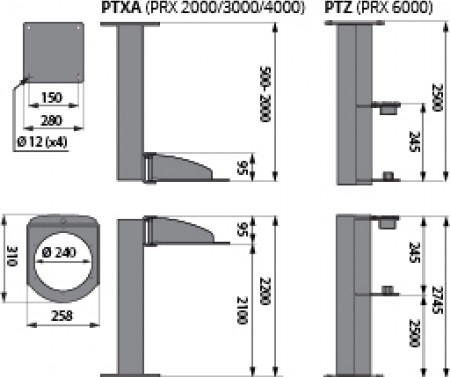 PTXA 180° 1 Joint Ceiling/Floor Bracket